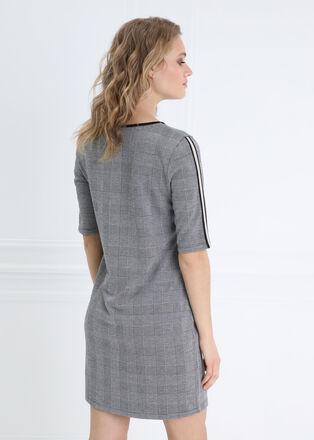 Robe droite a col rond gris fonce femme