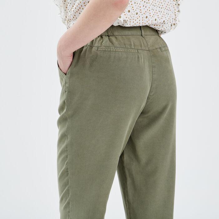Pantacourt ample taille standard vert kaki femme