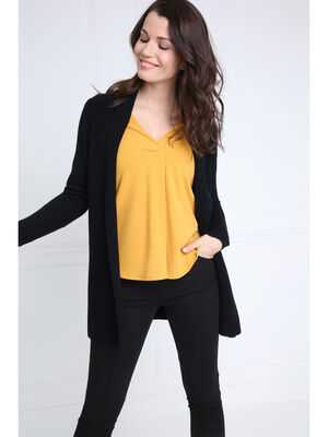 T shirt manches 34 col V jaune or femme