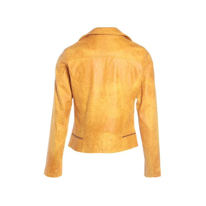 Veste esprit motard zippée jaune or femme