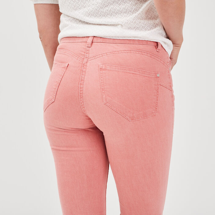 Pantalon évasé taille basculée vieux rose femme