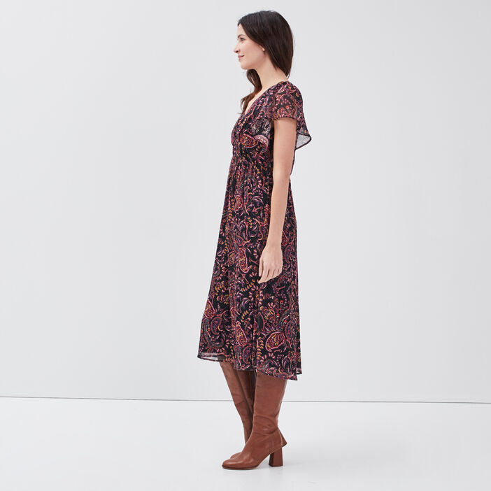Robe longue évasée noir femme