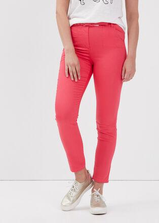 Pantalon ajuste taille haute rose vif femme