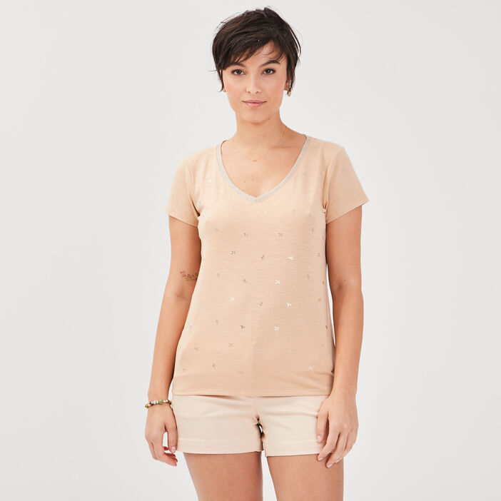 T-shirt manches courtes marron clair femme