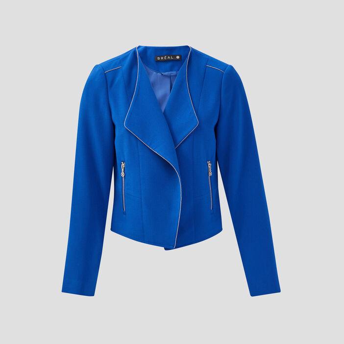 Veste droite détails bijoux bleu electrique femme
