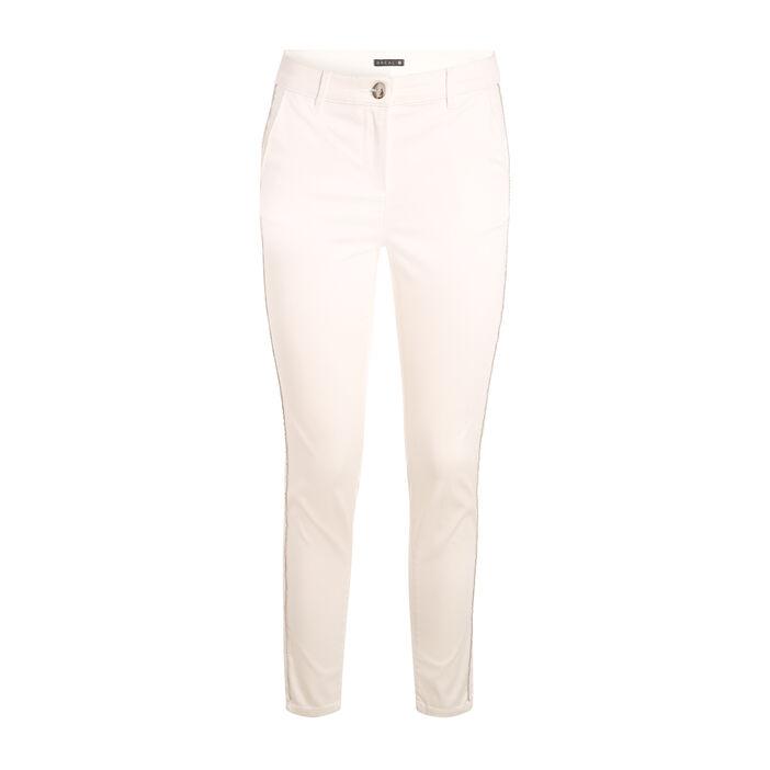 Pantalon taille haute chaînes ecru femme