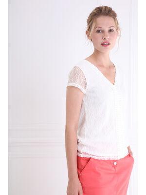 T shirt avec dentelle macramee ecru femme