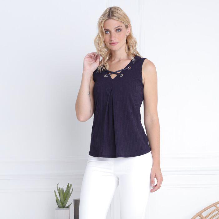 T-shirt sans manche laçage et oeillets bleu foncé femme