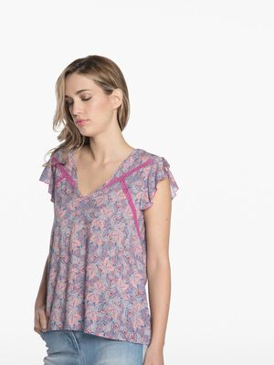 Chemise manches courtes imprimee rose pastel femme