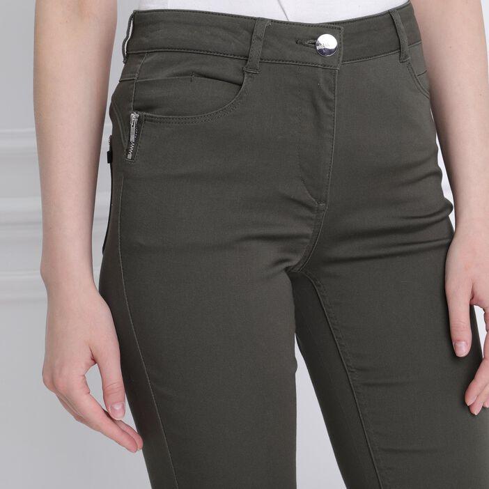 Pantalon taille standard zip poches vert kaki femme