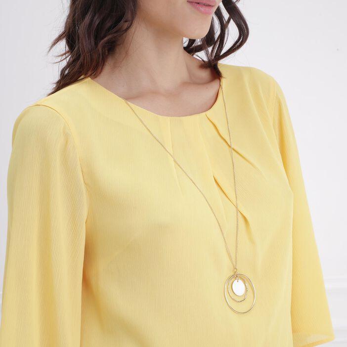 Blouse manches 3/4 avec bijou jaune femme