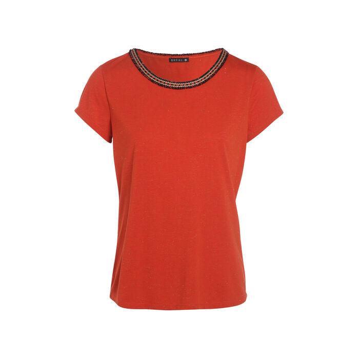 Tee-shirt manches courtes angel hair rouge corail femme