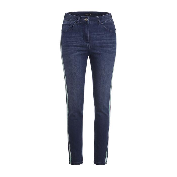 Jeans taille haute bande côté denim stone femme