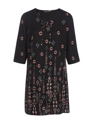 Robe imprimee dinspiration orientale noir femme