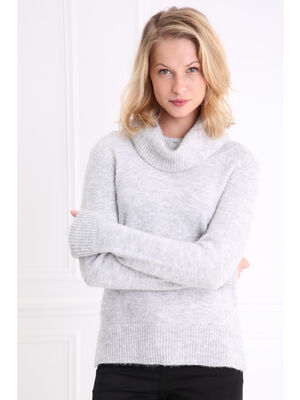 Pull col roule maille extensible gris clair femme