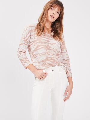 T shirt manches 34 creme femme
