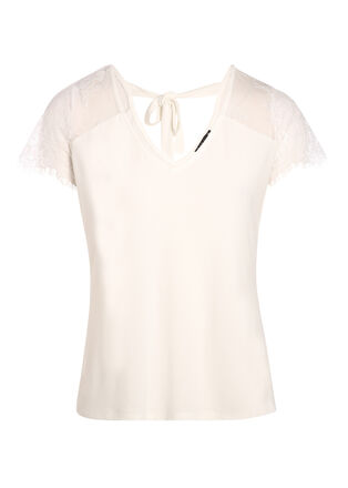 T shirt manches courtes en dentelle ecru femme