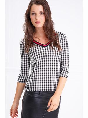 T shirt col V motif Vichy manches 34 noir femme