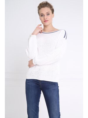 Pull manches longues lisere blanc femme