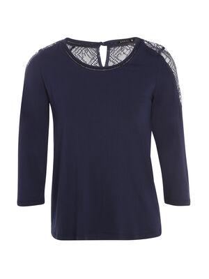 T shirt manches 34 guipure dos bleu femme