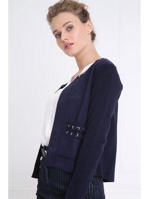 Gilet avec details lacage bleu fonce femme
