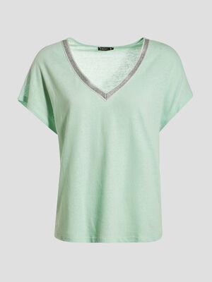 T shirt manches courtes vert pastel femme