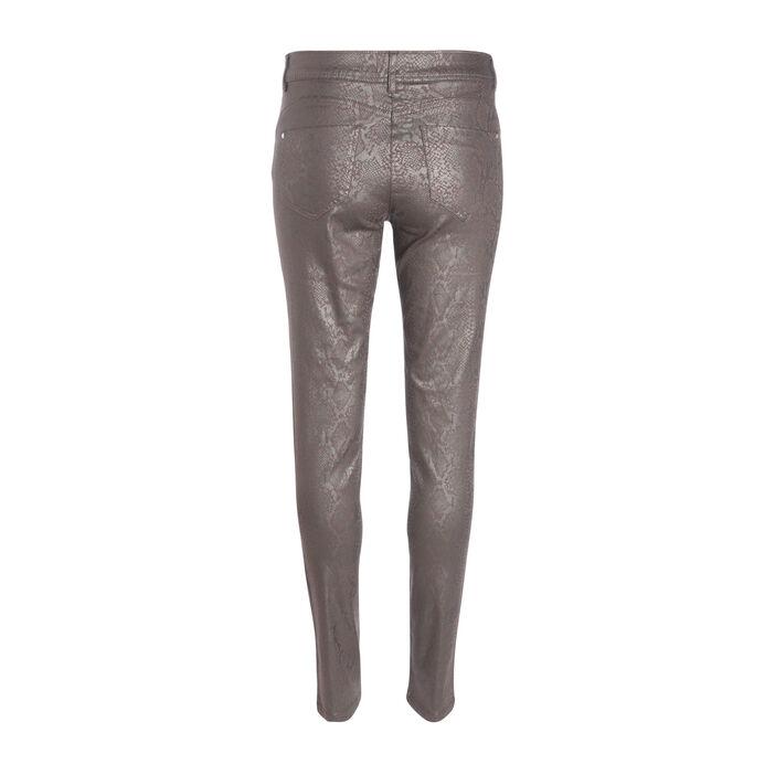 Pantalon près du corps enduit marron foncé femme