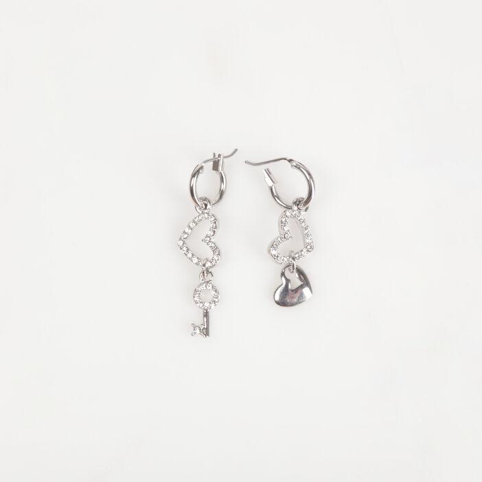 Boucles d'oreille clés couleur argent femme