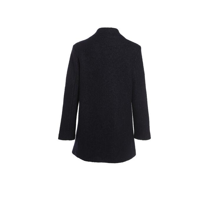 Manteau évasé boutonné bleu foncé femme