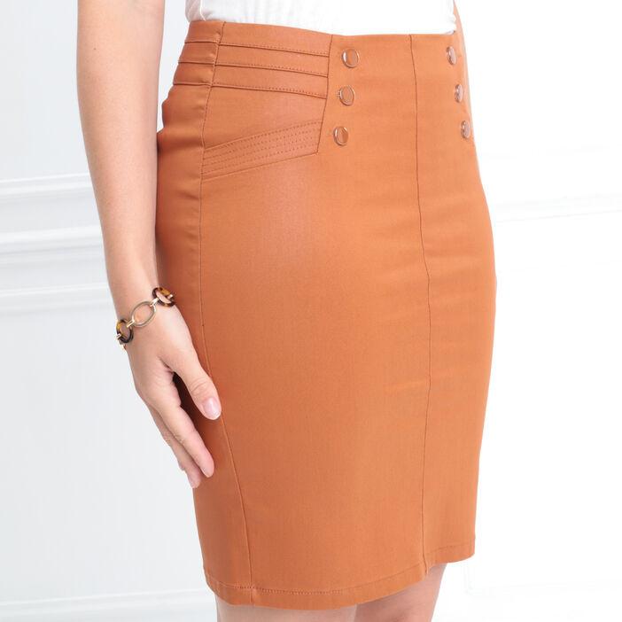 Jupe mi-longue crayon tissu enduit marron femme