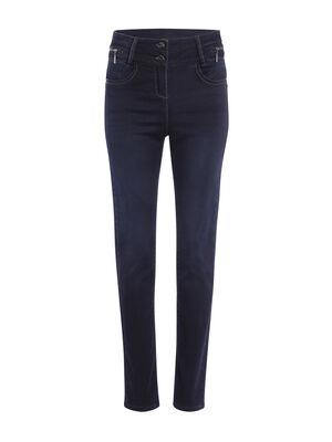 Jeans push up zips decoratifs denim brut femme