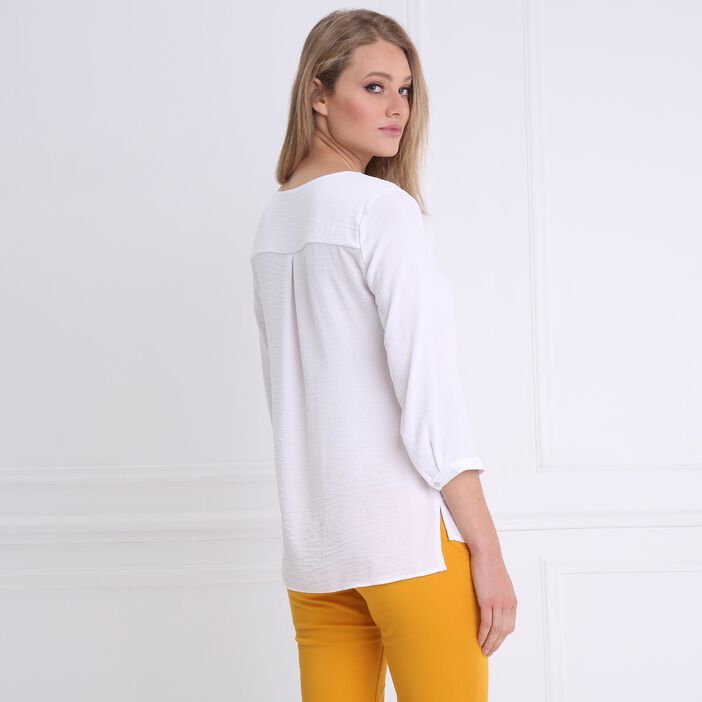 Blouse manches 3/4 col V blanc femme