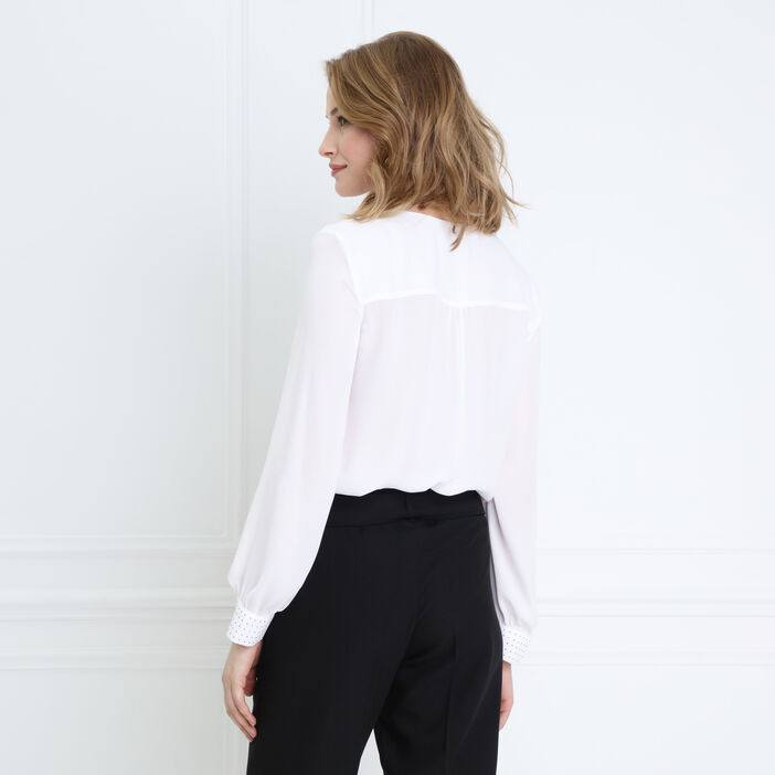 Blouse manches longues strass ecru femme
