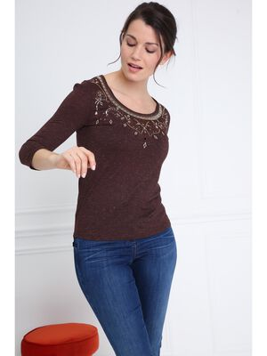 T shirt manches 34 col rond marron fonce femme