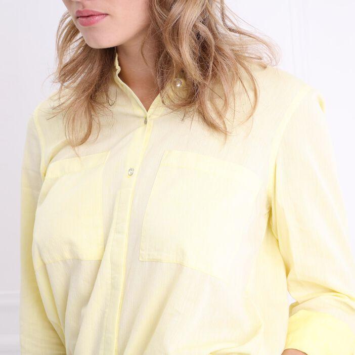 Chemise manches longues coton jaune pastel femme