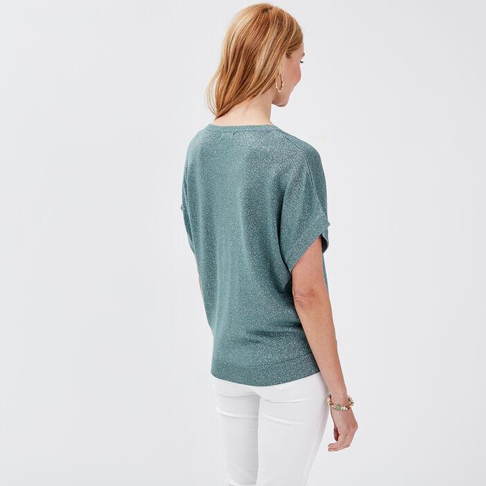Pull manches courtes vert kaki femme