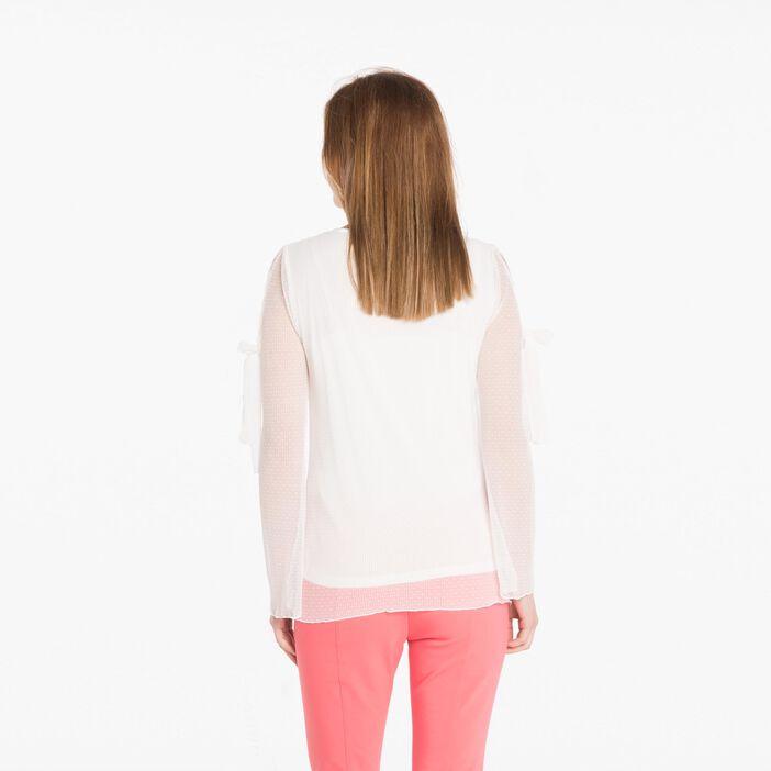 T-shirt manches longues plumetis plissé ecru femme