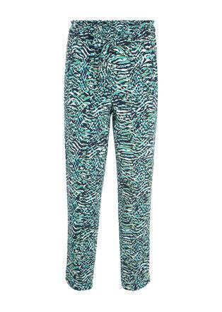 Pantalon flou imprime tropical blanc femme