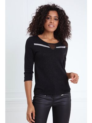 T shirt a decoupe triangle noir femme