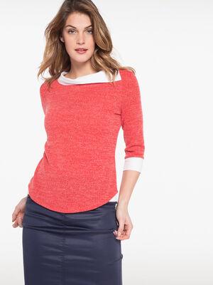 T shirt maille bicolore et tissu uni rose fushia femme