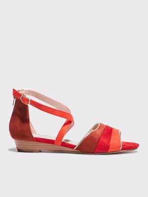 Sandales a talons orange corail femme