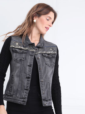 Veste droite boutonnee en jean noir femme