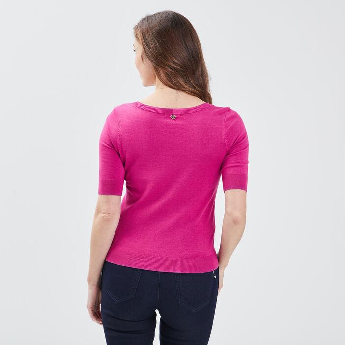 Pull manches courtes rose fushia femme