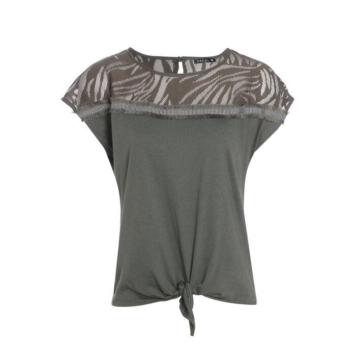 T-shirt manches courtes noué vert kaki femme