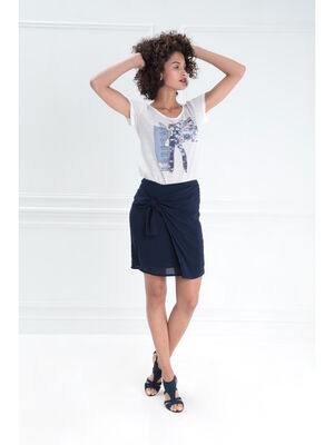 Jupe droite avec drape bleu fonce femme