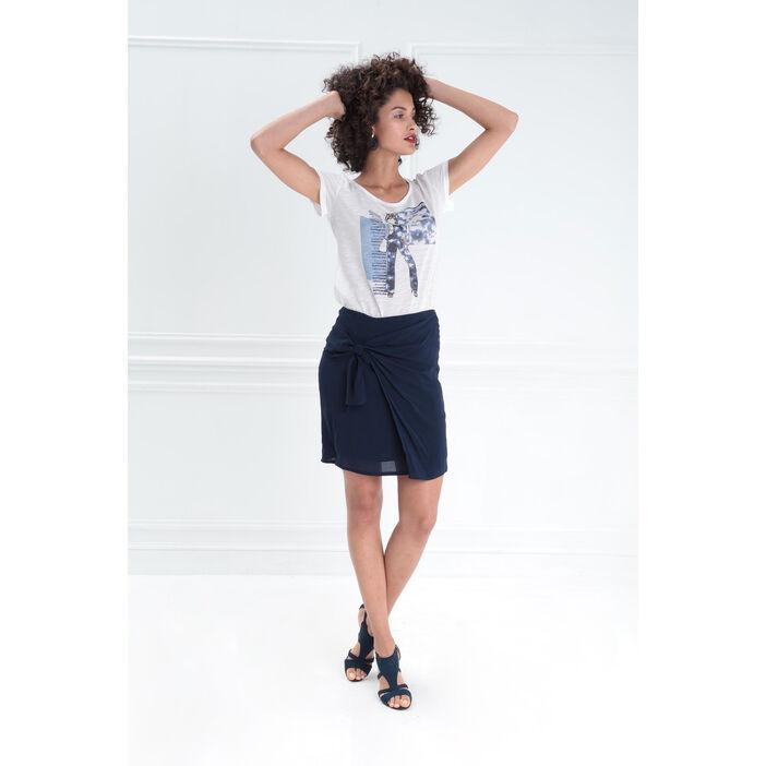 Jupe droite avec drapé bleu foncé femme