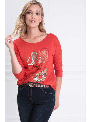 T shirt manches 34 col rond rouge corail femme
