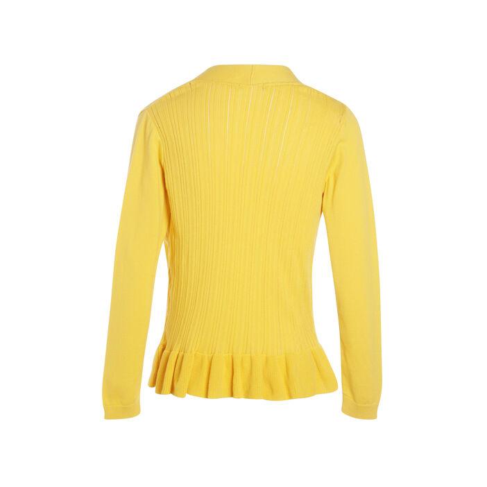 Gilet manches longues volanté jaune femme