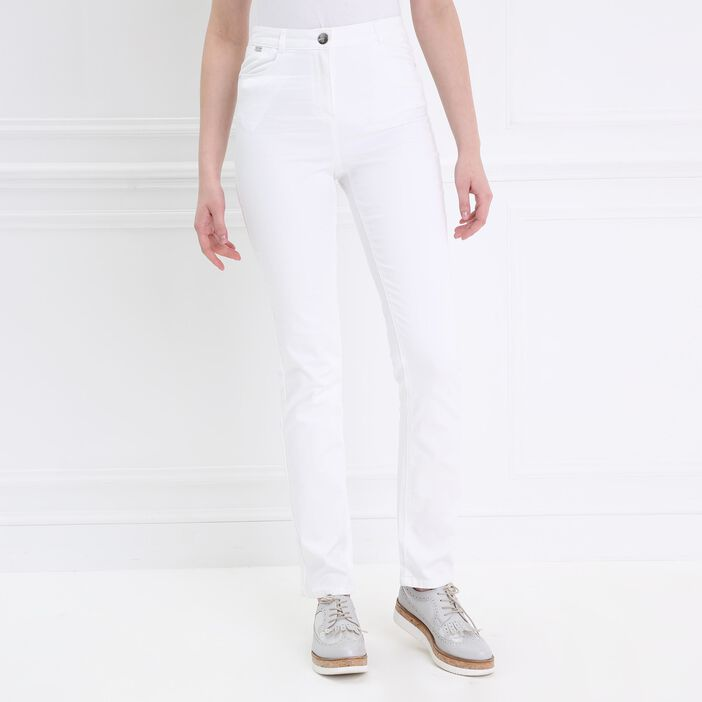 Pantalon droit taille haute blanc femme