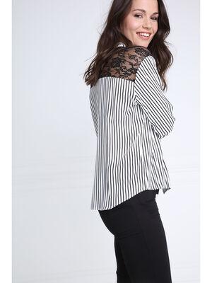 Chemise manches longues droite noir femme